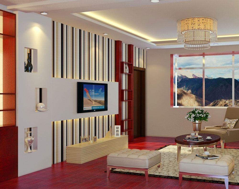 دکوراسیون داخلی اتاق های دوست داشتنی با دیواره های راه راه